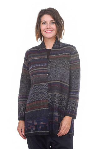 M & Kyoko Intarsia Texture Cardie, Blue One Size Blue