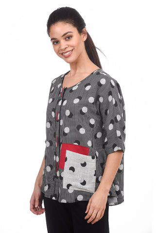 Moonlight Shadow Dots Blouse, Black/White