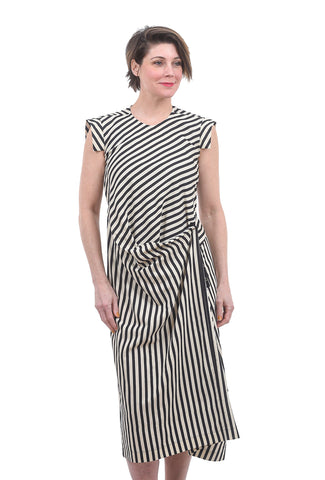 Divka Stripes & Snaps Dress, Black/White