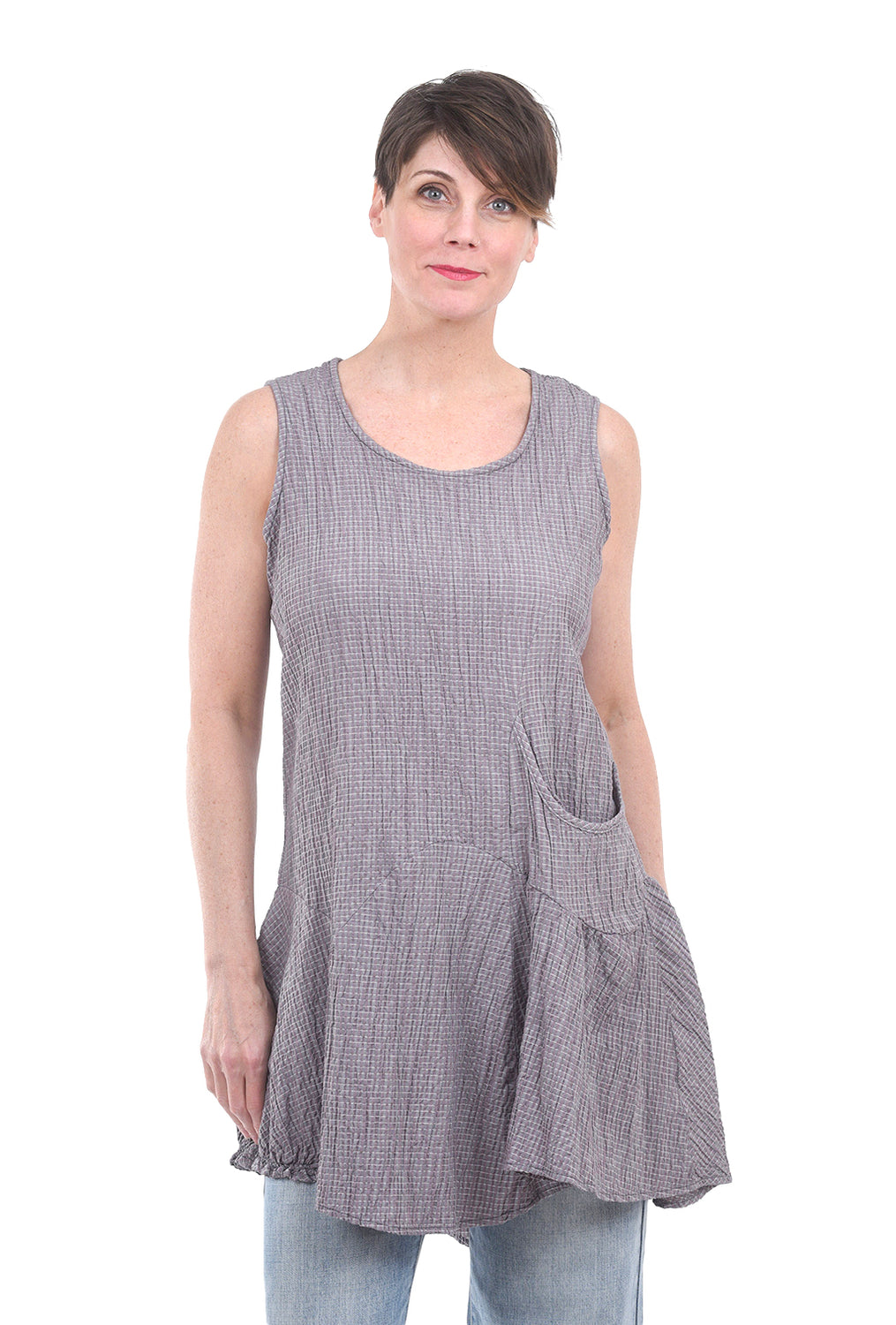 Cut Loose Gingham Asym Jumper, Iron Gray