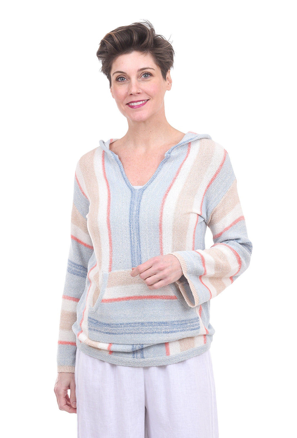 Hem & Thread Soft Baja Pullover, Blue Combo