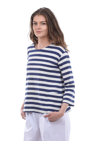 Two Danes Hatice Sailor Stripe T-Shirt, Cream/Blue