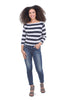 Enza Costa Cotton-Cashmere Stripe Sweater, Navy