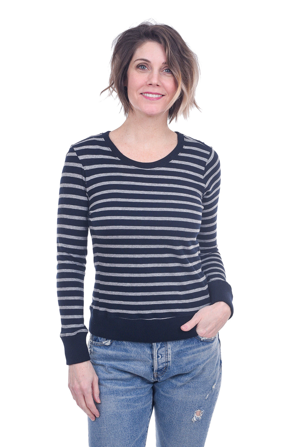 Enza Costa Cotton-Cashmere Striped Top, Navy Cadet