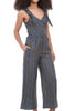 Current Air Tie-Detail Striped Jumpsuit, Navy/Mustard
