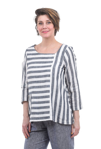 Fenini Lined Linen Stripe Top, Blue/White