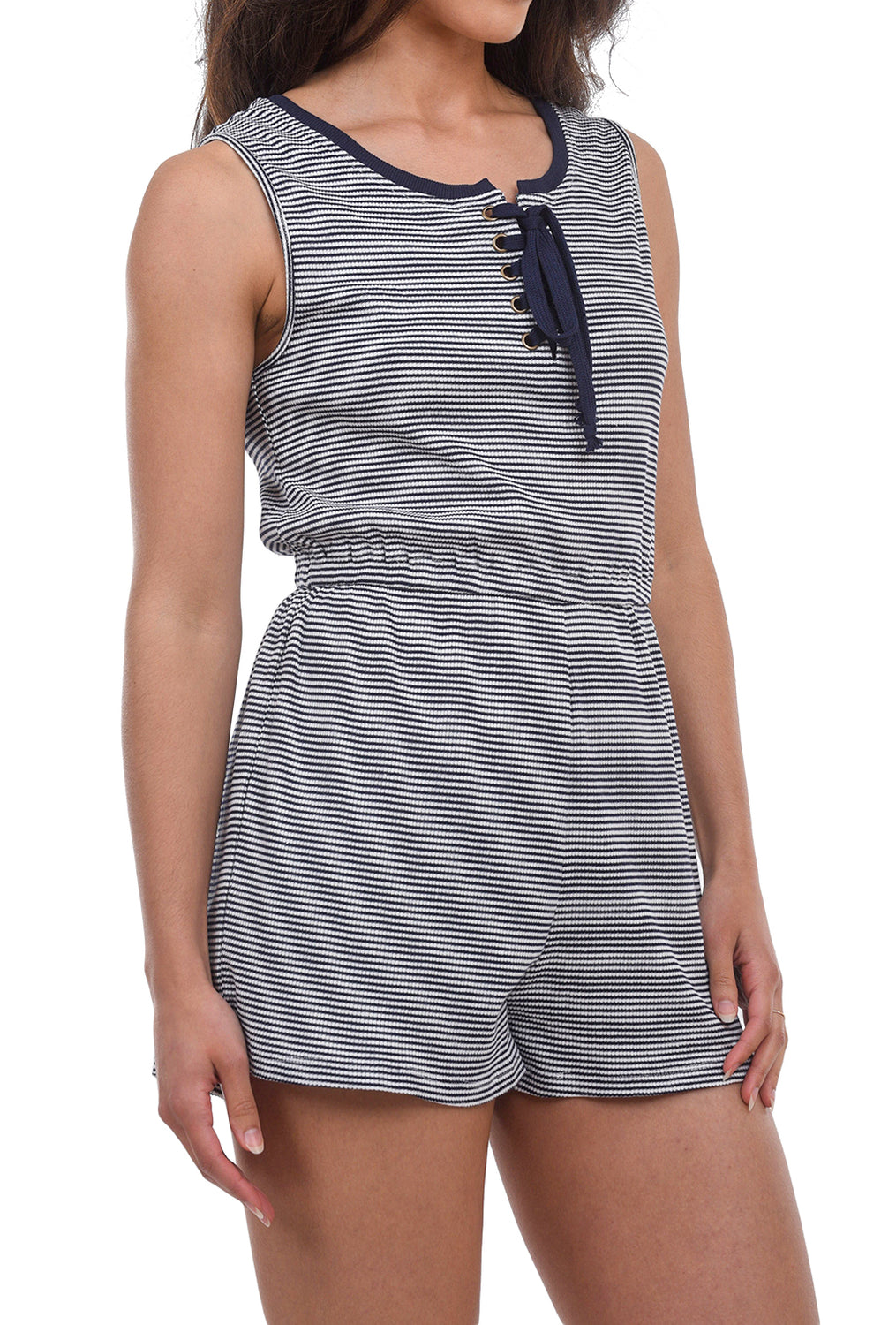 Hem & Thread Textured Rib Romper, Navy