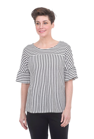 COA Structured Ruffle Top, White/Black Stripe