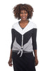 Sinuous Colorblock Button Top, White/Black