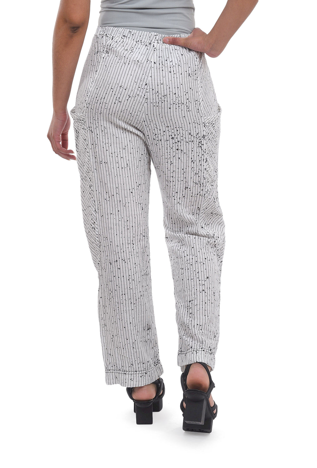 Cynthia Ashby Splatter Stripe Pants, White