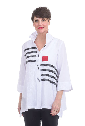 Moonlight Crepe Mondrian Jacket, White Mix
