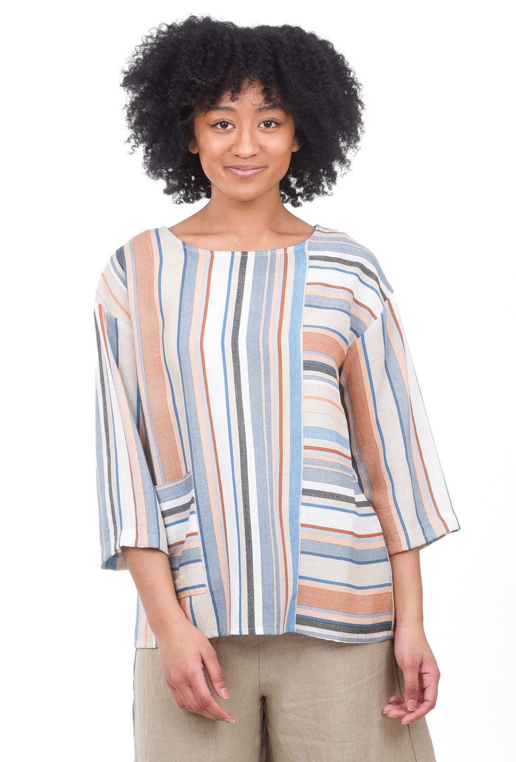 Christopher Calvin Breezy Multi-Stripe Blouse, Blue Multi