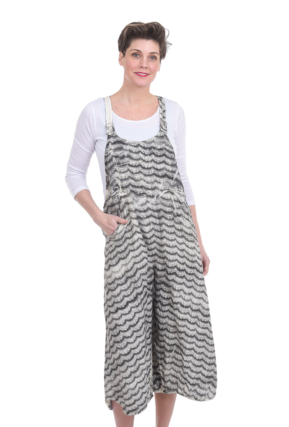 Cynthia Ashby Delight Linen Overalls, Ivory Print