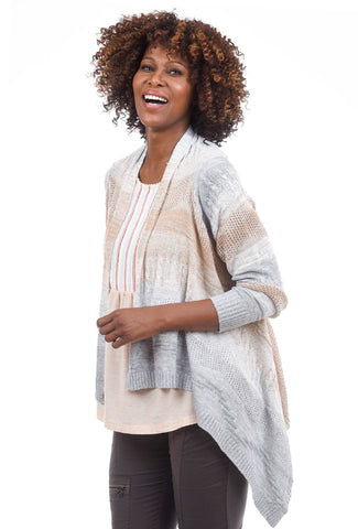 Mystree Drape Front Open Sweater Cardie, Taupe/Gray