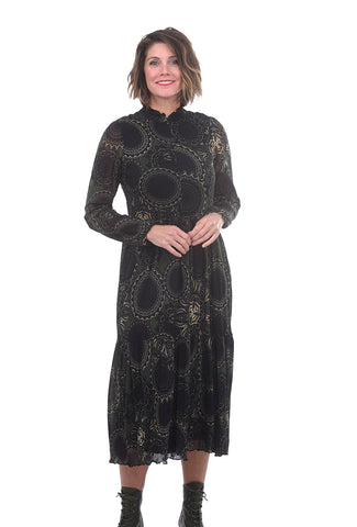 Summum Mesh Paisley Circles Dress, Deep Green