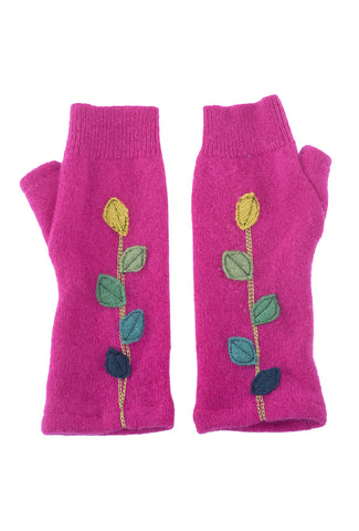 Sardine Clothing Company Recycled Cashmere Handwarmers, Leaves Fuchsia One Size Fuchsia