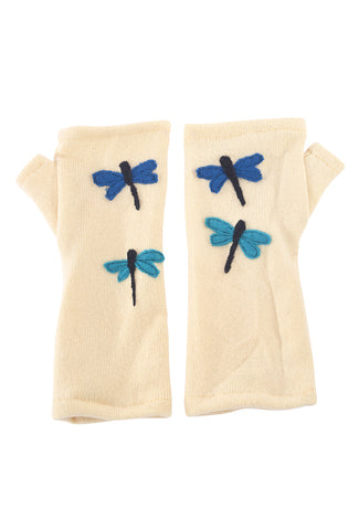 Sardine Clothing Company Recycled Cashmere Handwarmers, Butter Dragonfly One Size Butter