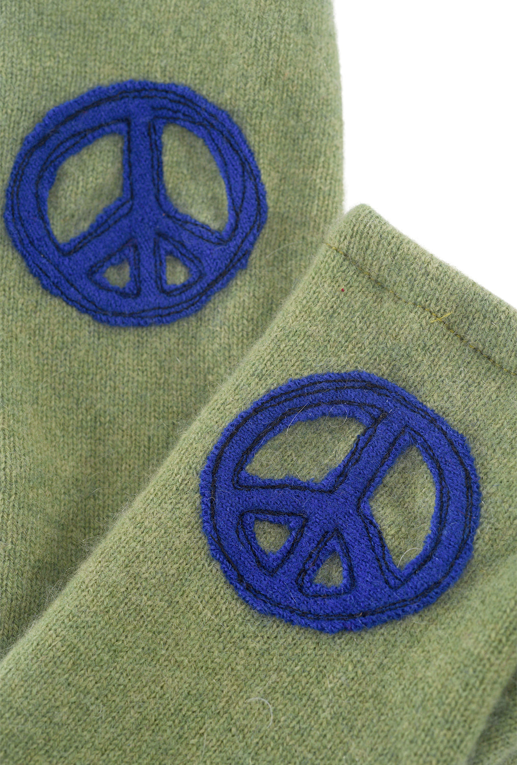 Sardine Clothing Company Recycled Cashmere Handwarmers, Peace Green One Size Green