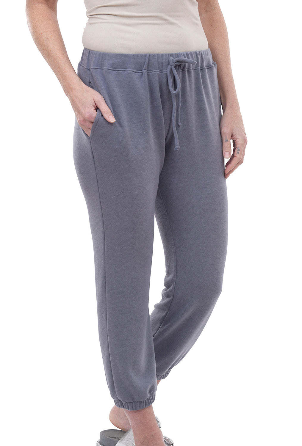 Nally & Millie French Terry Sweatpants, Slate Gray