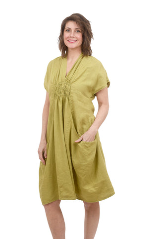 Luna Luz Shawl Collar Linen Dress, Celery