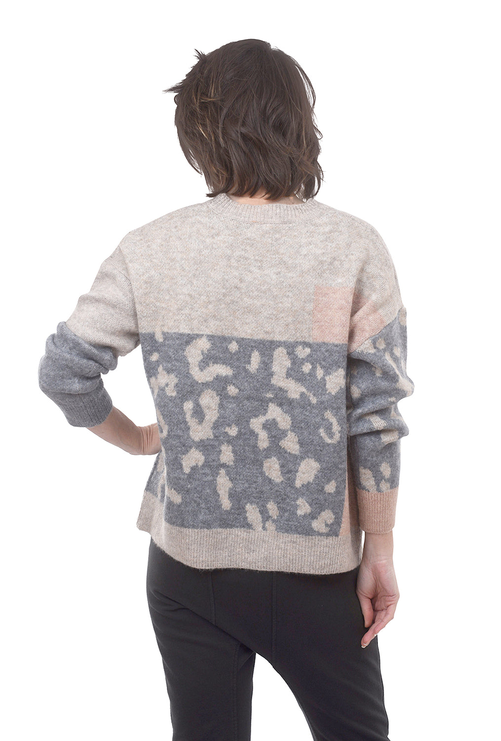Mystree Woolly Leopard Mix Pullover, Taupe