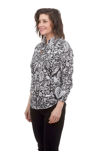 Cino Crinkle Cotton Shirt, Black Fiji
