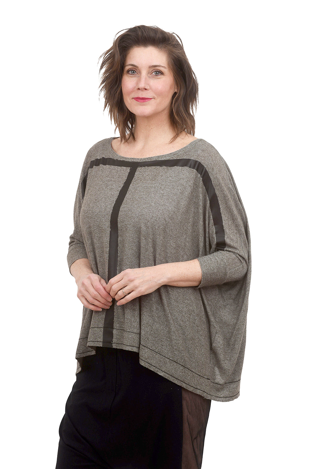 Ozai n Ku Marjoram Knit Top, Dark Gray