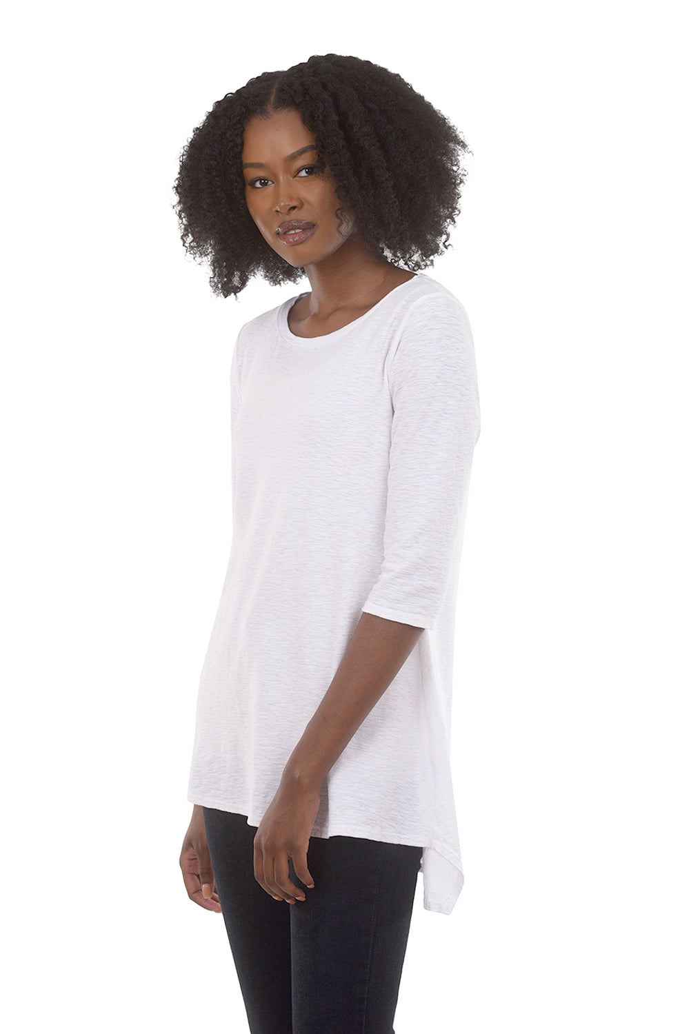 Cut Loose 3/4-Sleeve Long Tee, White