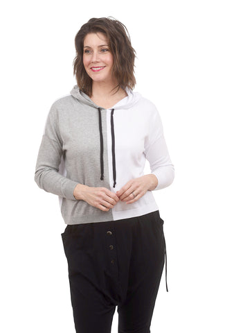 Planet Two-Tone Hoodie, Gray/White One Size Gray