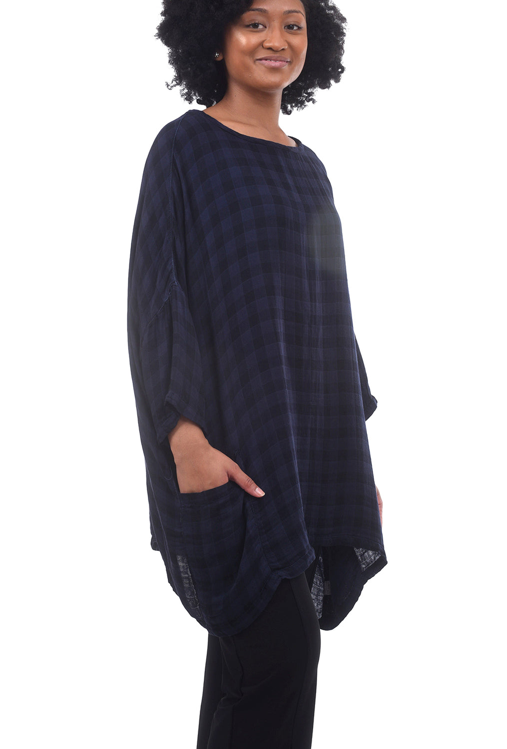 Cut Loose Check Double-Cloth Pullover, Blue Moon One Size Blue