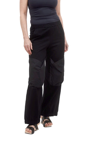 Alembika Contrast Pocket Jersey Pants, Black