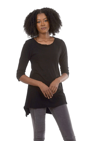 Cut Loose 3/4-Sleeve Long Tee, Black