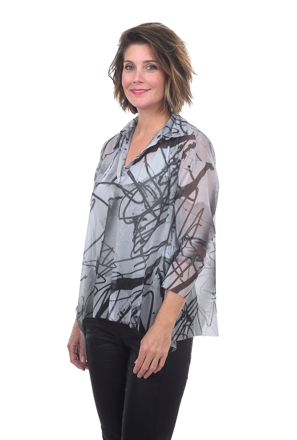 Luukaa Mesh Scribble Swing Shirt, Stone