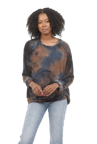 Coin1804 Plus-Size Tie-Dye Sweatshirt, Taupe Multi