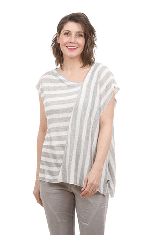 Ozai n Ku Petunia Stripe Top, Gray/Ecru