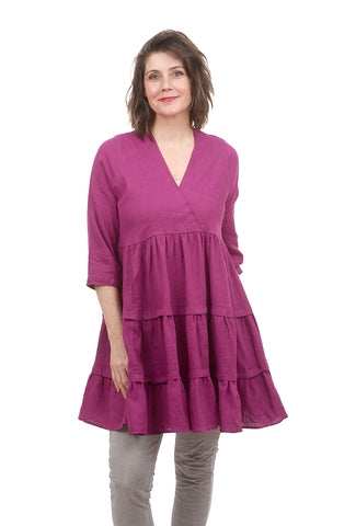 Alembika Linen Tiered Dress, Purple