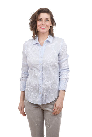 Cino Embroidered Crinkled Shirt, Chambray