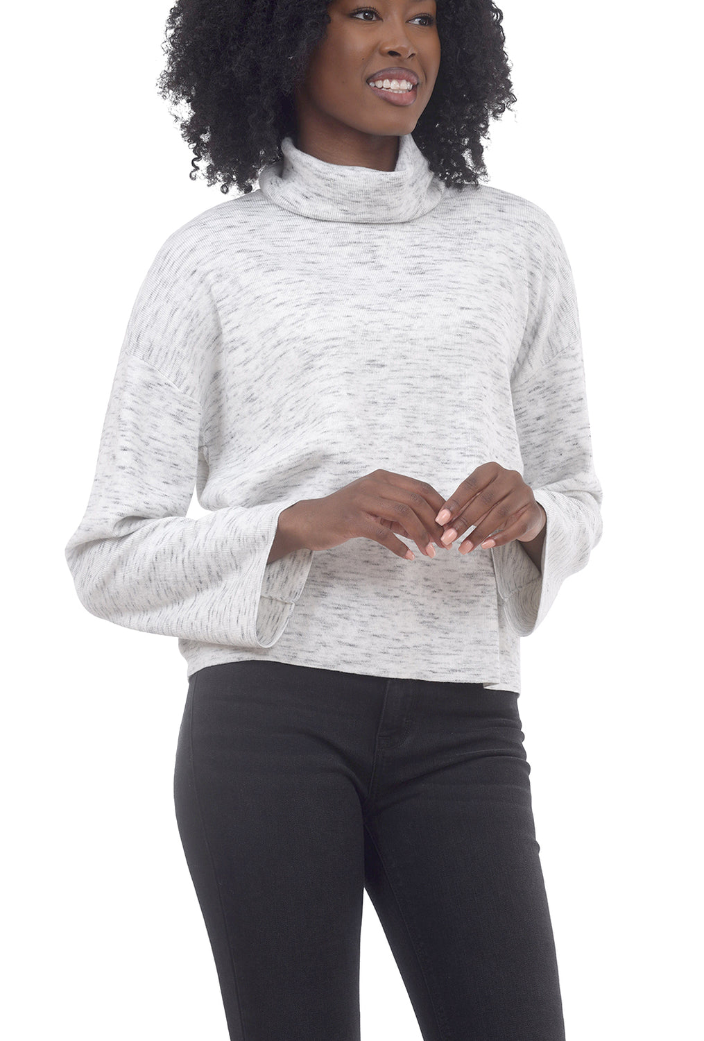 RD International Marled Cowl Crop Sweater, Snow