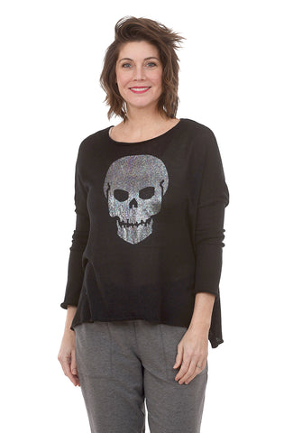Wooden Ships Metallic Skull Sweater, Black