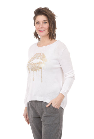 Wooden Ships Bianca Crew Sweater, White/Gold