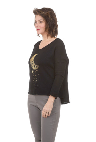 Wooden Ships Over the Moon Sweater, Black/Gold