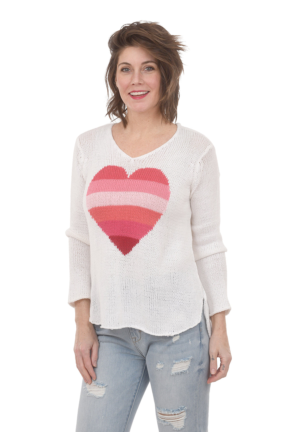 Wooden Ships Rainbow Heart Sweater, White