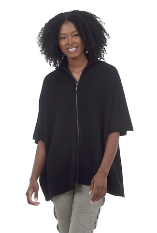 RD International Zip-Front Poncho Sweater, Black