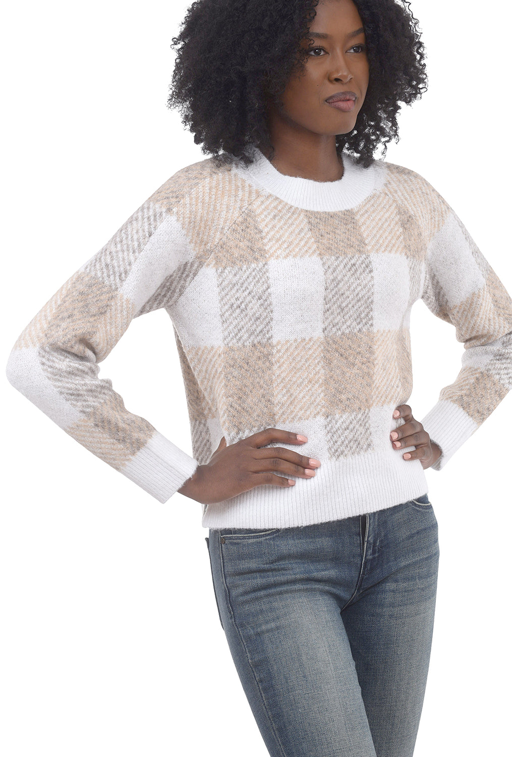 RD International Plaid Check Crop Sweater, Soft Sand