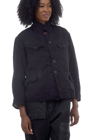 Magnolia Pearl Ness Swag Coat, Black Pinstripe One Size Black