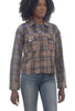 Mystree Brushed Plaid Trucker Jacket, Brown Mix