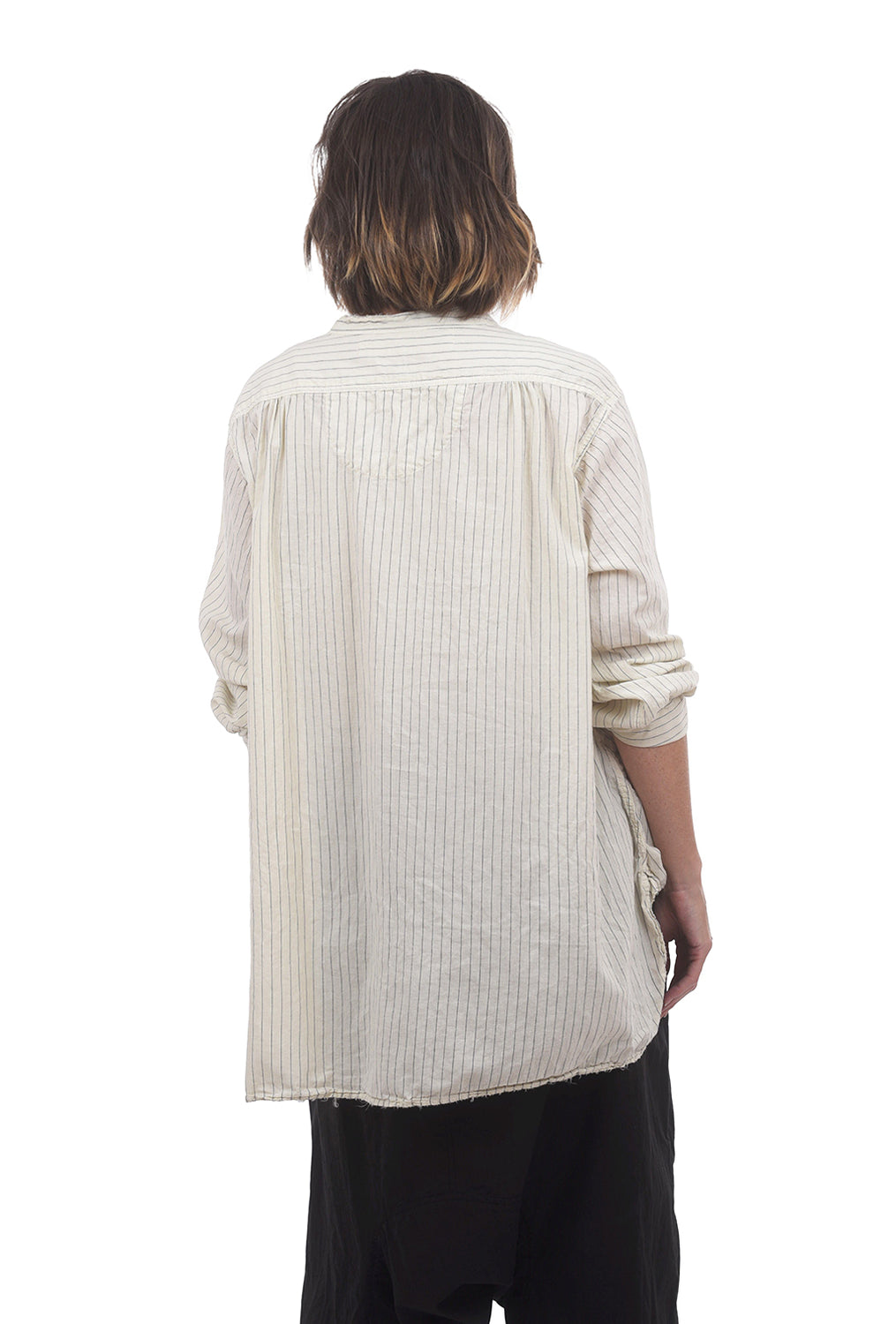 Magnolia Pearl Hand-Block Idgy Shirt, George Stripe One Size White