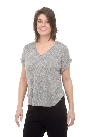 Coin1804 Rolled-Sleeve Hacci Tee, Heather Gray