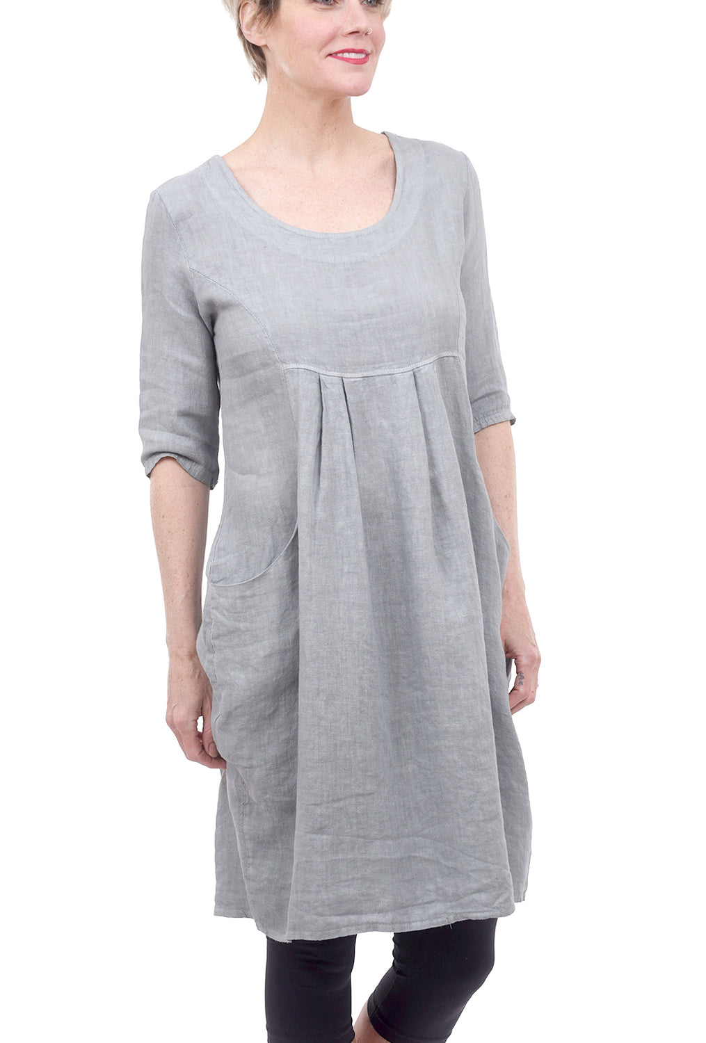 Lands Downunder Linen Empire Lady Dress, Slate