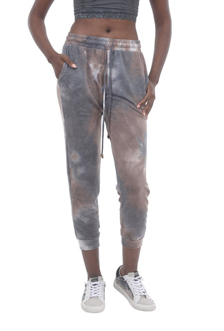 Ariella Clothing Tie-Dye Joggers, Brown/Pink